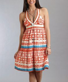 Coral & Blue Arabesque Sleeveless Dress - Women by Stetson #zulily #zulilyfinds