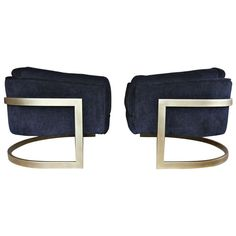Pair of Burnished Brass Cantilevered Lounge Chairs by Milo Baughman | From a unique collection of antique and modern lounge chairs at http://www.1stdibs.com/furniture/seating/lounge-chairs/