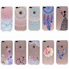 """Transparent Phone Cases For Apple iPhone 7 Plus Case Silicone Fresh Slim Soft Back Cover For Apple 5.5"""" Butterfly Girl Fundas"""