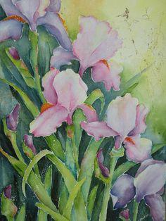 Garden Full Of Irises Painting  - Garden Full Of Irises Fine Art Print