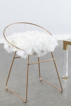 """Materials: Metal, genuine sheepksin, linen ( gray pad) Measurements : 25.5""""h x19.5""""w x18""""d pounds, 8 pounds Seat height: 18""""h Colors: gold, white, gray"""