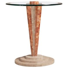 Art Deco Style Tessellated Stone Pedestal Side Table | From a unique collection of antique and modern side-tables at https://www.1stdibs.com/furniture/tables/side-tables/