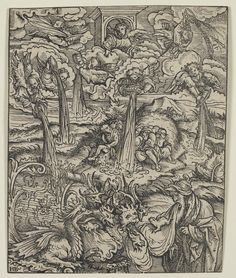 """Hans Burgkmair the Elder """"Angels emptying the seven vials of wrath; the seven-headed beast and a male figure in foreground spitting out frogs. From a series of 21 woodcuts of the Apocalypse for Martin Luther's translation of the New Testament (Augsburg: S. Otmar, 1523). 1523 Woodcut"""""""