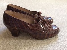 1940s Shoes Size 4 Brown Alligator Style Lace Up Oxfords 4 | eBay