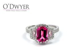 Unique Ring Enchanting pink tourmaline in 18ct white gold ring with diamonds. Förtrollande turmalin infattad i vitguldsring och diamanter.
