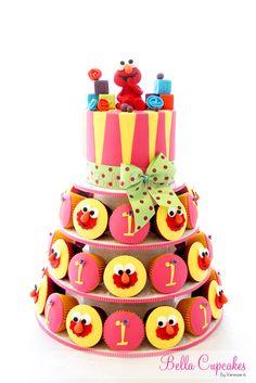 Vanessa Iti of Bella Cupcakes - Love Elmo and love this cake/cupcake tower