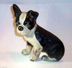 Vintage  Bulldog Boston Terrier Doorstop Cast Iron Wedge  #Unbranded