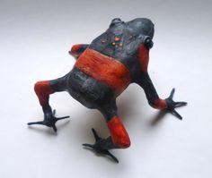 Red Banded Frog Sculpture Handmade Frog by AlanJamesdesigns