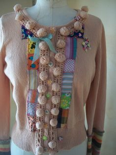Harry and the HIppie Chic Upcycled Reconstructed Cropped Sweater with Patchwork and Pom Poms SM/MD