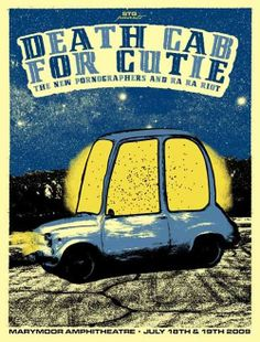 Death Cab For Cutie, The New Pornographers & Ra Ra Riot music gig posters | Side of Music… The Gig Poster | Cherry Bomb Design Studio, estudio ...