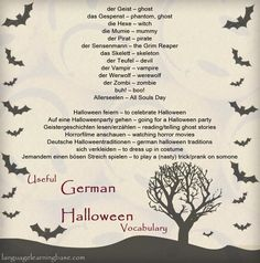 German Halloween Vocabulary - learn German,vocabulary,words,german,deutsche