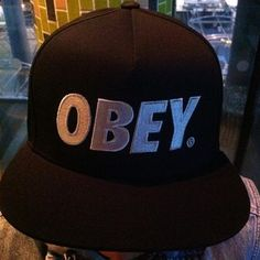 0bf0067ce5932 Hatabouttown in spitalfields spotted this Obey fitted snap back. Black on  white always look good