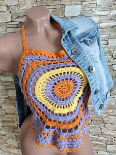 Crochet mandala top Granny square colorful top Boho summer festival crop top Beach womens clothing Hippie cover up sexy top Vacation outfit Hippie Style Clothing, Hippie Outfits, Plus Size Beach Outfits, Festival Crop Tops, Stylish Summer Outfits, Hippie Crochet, Crochet Crop Top, Crochet Mandala, Beach Tops