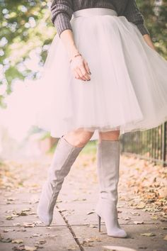 Grey Tulle and grey boots