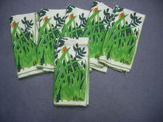 Lot of 6 Vintage Retro Vera Napkins Green Leaves Ladybug