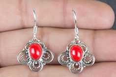 Silver Earrings – Handmade Coral Gemstone 925 Silver Earring – a unique product by ArtisanJewellery on DaWanda