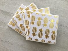 Pineapple, Gold Foil Coasters, Gold Foil, Gold Coasters, Tile Coasters, Ceramic Coasters, Handmade Coasters, Wedding Coasters, Coaster Set by JulesfortheHome on Etsy