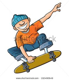 Cartoon of boy jumping on his skateboard. Isolated on white by Anton Brand, via ShutterStock