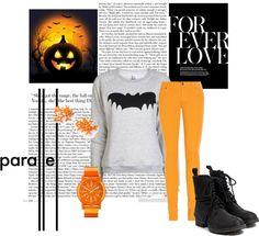 """Halloween set! ♥ - Orange & Blackk! ;3"" by magda-jed ❤ liked on Polyvore"