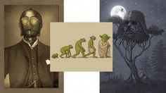 """Star Wars: Sextology homage-payers include the franchise's protocol droid rocking a three-piece suit in """"Baron Von C3PO"""", a diagram of a frog evolving into Yoda, and a monochromatic depiction of a Vader helmet-shaped tree lit by a Death Star-esque moon, titled """"Dark Side of the Forest"""", also where you'd likely find running (Roger) Waters."""