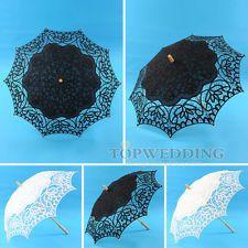 "33"" Handmade Battenburg Lace & Cotton Parasol Embroidery Bridal Wedding Umbrella"