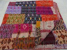 Indian Quilt -Vintage Quilt Old Patola Indian Silk Sari Kantha Quilted Patchwork Bedspread Bohemian Kantha Throws, Gudari Handmade BANJARA TEXTILE http://www.amazon.com/dp/B0116LX78I/ref=cm_sw_r_pi_dp_XglNvb058N5BV