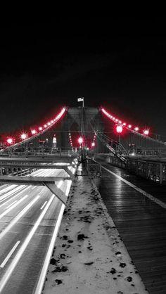 Red, Light, Bridge, Black & White, Photography