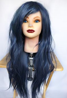 20% OFF Blue wig, Long Blue wig, Straight Lolita Cosplay wig, Scene Wig, Emo Wig, Gothic Wig, Dyed wig  // MC70