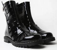 Gareth Pugh Strapped Patent Leather Boots #black #shoes