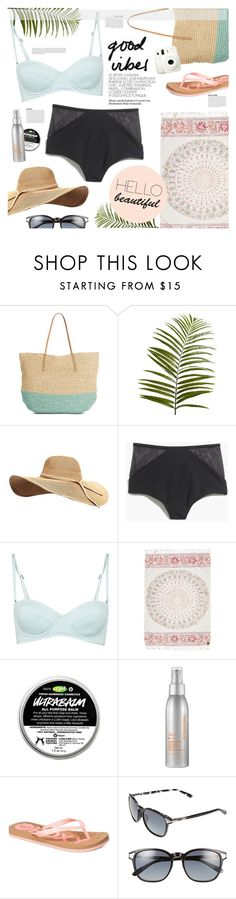 """""""Beach Day"""" by leinapacheco ❤ liked on Polyvore featuring Target, Pier 1 Imports, Madewell, Billabong, Dr. Dennis Gross Skincare, Roxy, Oakley, Fuji and beach"""