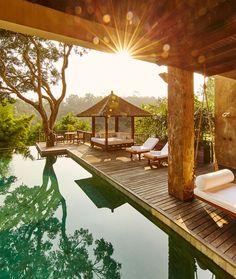 Hidden deep in the tropical jungle, on the banks of the Ayung River, COMO Shambhala Estate in Ubud is a sumptuous combination of a top-class boutique hotel and a luxurious spa. #balihotels #balihotelsluxury #bestbalihotels #balihoneymoon #balihotelresortshoneymoons #bestluxuryhotelsbali #baliluxuryresort #balihotelresortsvillas #bestvillasinbali #bestbalivillasluxury #baliluxuryvilla #ubudluxuryresort #ubudluxuryhotel #luxuryhotelsubud #ubudluxuryvillas #ubudbalihotelvillas #ubudbalihotel Gazebo, Pergola, Bali Honeymoon, Best Hotels, Outdoor Structures, Abundance, Wealth, Environment, Kiosk
