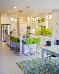Wade & Twila: New Lime Green and White Kitchen After all the planning, here is the finished result!  Lime green kitchen, turquoise kitchen, subway tile, back splash, white cabinets, tile floor, farmhouse sink, appliance garages, in cabinet lights, modern,