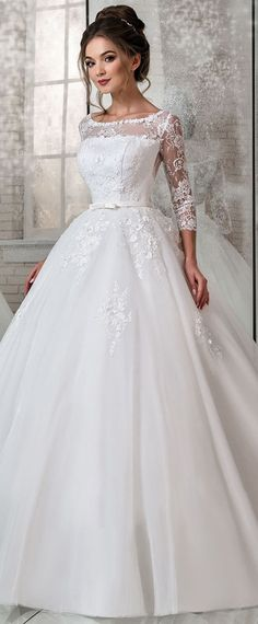 Modest Lace & Tulle Scoop Neckline Natural Waistline Ball Gown Wedding Dress With Lace Appliques & 3D Flowers & Beadings #weddinggowns #weddingdress