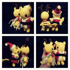 Just in time for the holidays I decided to make a couple of Christmas-themed Pikachu. I made these for a giveaway over on Crafty Amino.    #pokemon #pikachu #crochet #amigurumi #handmade