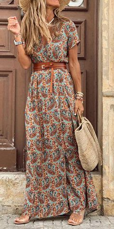 V-neck short sleeve floral print split wrap dress, fashion casual style and comfortable material you will love it, tops, Elegant Dresses, Casual Dresses, Casual Outfits, Maxi Dresses, Party Dresses, Mode Outfits, Fashion Outfits, Womens Fashion, Dress Fashion