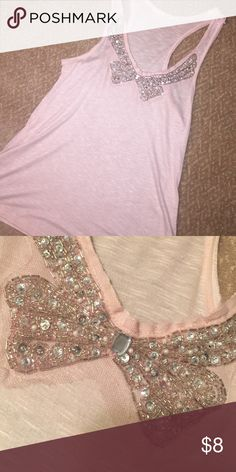 Beaded dressy tank Light pink dressy tank, detailed beads,jewels, and lace. Very good condition Lush Tops Blouses