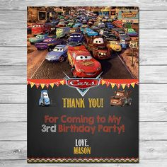 Disney Cars Thank You Card Chalkboard - Lightning McQueen Birthday Thank You - Disney Cars Printables - Cars Party Favors Disney Cars Party, Disney Cars Birthday, Cars Birthday Parties, Birthday Party Favors, 4th Birthday, Birthday Ideas, Cars Party Favors, Party Invitations Kids, Car Party