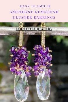 Amethyst Jewelry, Gemstone Jewelry, Quartz Jewelry, Amethyst Cluster, Amethyst Gemstone, Cluster Earrings, Women's Earrings, Quartz Crystal, Boho Jewelry