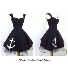 Hey, I found this really awesome Etsy listing at https://www.etsy.com/listing/192447269/black-anchor-mini-dress-mod-black-capped