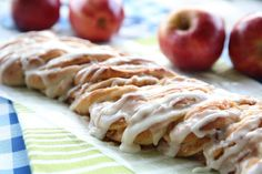 This is an amazing sweet bread with a gorgeous (but super easy!) braiding technique. It's filled with apple-cinnamon filling and drizzled with icing!