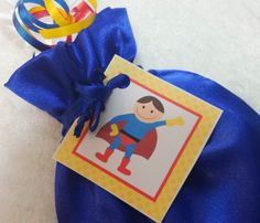 PARTY PACK Sets of 6 to 12 - Super Hero / Superman Blue Favor Bags (Filled) by TeatotsPartyPlanning on Etsy