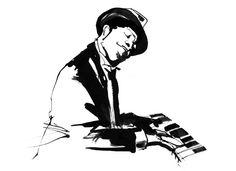 Jazz illustration Ink Black and White Eri Griffin