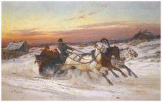 Картина: Н.Е. Сверчков. 'Тройка на закате' | художники и их картины | Постила
