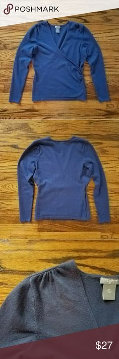 """Ann Taylor blue faux wrap sweater with ruching Faux wrap sweater with v-neck. Pretty muted navy blue color. Ruching on side and on shoulders for added interest. Measurements are approx 30"""" bust, 20.5"""" length from top of shoulder to bottom hem. Excellent used condition. Ann Taylor Sweaters V-Necks"""