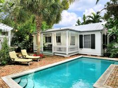 Key West cottage rental - Private Swimming Pool and Brick Courtyard in front of the Cottage