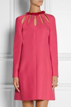 Valentino|Cutout wool and silk-blend crepe mini dress|NET-A-PORTER.COM