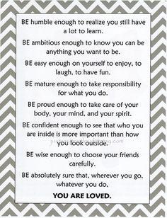 Words of Wisdom for you Teens and Tweens - Kids Wall Art Motivational Art Teen R