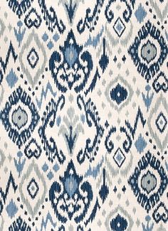 """03366 Blue - Vern Yip Fabric Collection - Up the roll ikat fabric. Content; 55% Linen, 45% Cotton. Perfect for bedding, drapery or light use upholstery. Repeat H 27"""" x V 27"""". 30,000 double rubs. 54"""" wide. Please note; 12 yard minimum."""