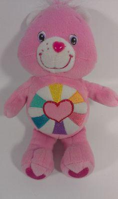 2006 Jakks Care Bears Pink Teddy HOPEFUL HEART Bear Stuffed Animal Plush Beanie  #AllOccasion