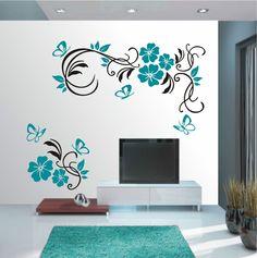 WANDTATTOO Wandaufkleber Wandsticker 2farbig Blumen Ranke Wohnzimmer Flur WT 579